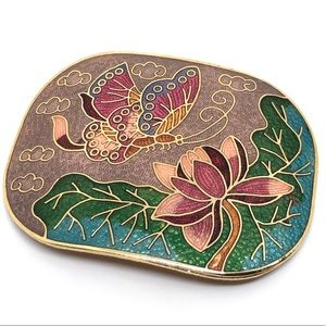 🆕Vintage Colorful Butterfly Cloisonné Belt Buckle